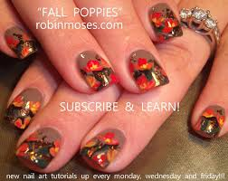 DIY Fall Nails | Poppy Nail Art design Tutorial - YouTube