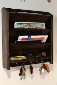 mail letter rack handcrafted wood organizer by and key holder with hooks target