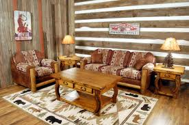 Rustic Leather Living Room Furniture Rustic Hickory Log Faux Leather Living Room Tedxbcit