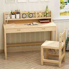 tribesigns kids study desk and chair set height adjule solid wood writing desk with 2 tier bookshelf drawer great for kids works as student desk