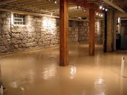 Basement Stone Walls Decorative Basement Floor With Stone - Unfinished basement man cave ideas