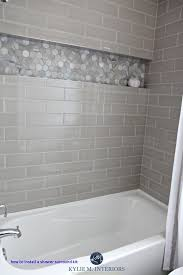 our bathroom remodel greige subway tile and more how to install a shower surround