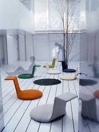 Colorful Ergonomic Backrest Floor Seating With Rounded Rug For