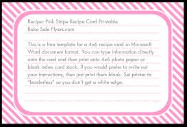 Index Card Recipe Template Free 4 X 6 Recipe Card Template Bake Sale Flyers Free