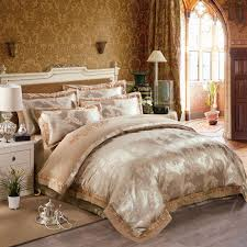 fashion luxury duvet cover set light tan chinese classical style print linens silk cotton jacquard queen king size bedding sets in bedding sets from home
