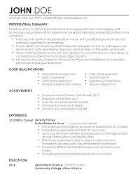 resume templates security professional john doe john doe resume - Security Forces  Resume