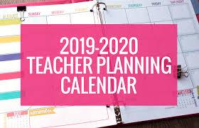 Printable 2019 2020 Calendar Template Kindergartenworks