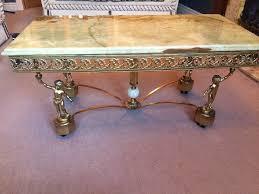 onyx top coffee table gilt frame with cherubs