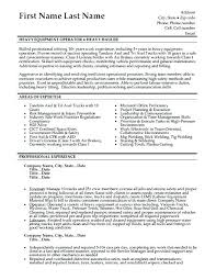 Heavy Equipment Operator Resume