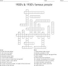 Designer Crossword 1920s 1930s Famous People Crossword Wordmint