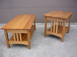 Simple Oak Mission Style Coffee Table And End Table Design For Small