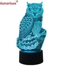 Uil 3d Led Nachtlampje Babykamer Decoratie Lamp Acryl Kleur