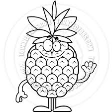 pineapple clipart black and white. cartoon pineapple waving (black and white line art) clipart black