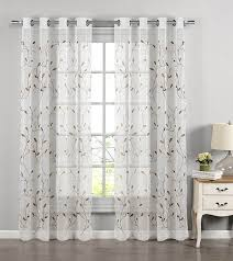 com window elements wavy leaves embroidered sheer extra wide 54 x 84 in grommet curtain panel chocolate home kitchen
