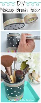 diy makeup brush holder made from a thrift pencil organizing cup easy affordable