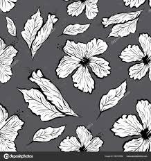 бесшовный фон цветок гибискуса в стиле тату черный и белый