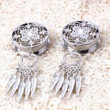 Dream Catcher Tunnels DreamCatcher Dangle Screw Back Plug 100L Stainless Steel Ear Gauge 23