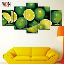 ween stretched and framed fruit hd printed green orange picture 5 piece wall canvas art for on lemon lime wall art with ween stretched and framed fruit hd printed green orange picture 5