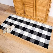 ecoshome cotton bath runner buffalo check plaid area rug door mat for entry way washable carpet for kitchen 24 x 51 black and white