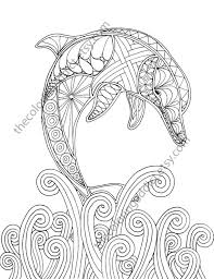 Dolphin Coloring Page Adult Coloring Sheet Nautical Coloring