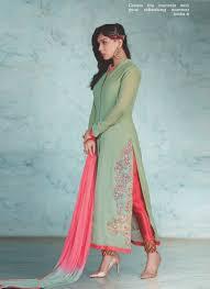 Front Open Salwar Designs Affectionate Olive Green Georgette Designer Front Open