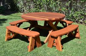 round picnic tables the new way home decor give a little enhancement for your outdoor space with round picnic table