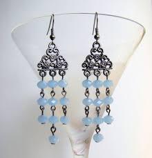 chandelier earrings metal tone earrings with sky blue glass beads summer earrings boho earrings bohemian long earrings