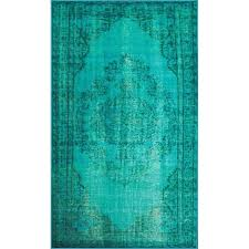 nuloom 2 8 x 8 vintage inspired overdyed rug in turquoise