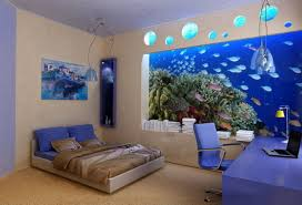 bedroom wall decorating ideas. Ocean Accent Wall Ideas For Bedroom With Blue Color Themes Interior Decor  Also Computer Table And Swivel Chair Bedroom Wall Decorating Ideas