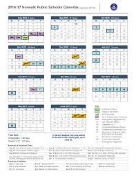 School Calendar 2015 16 Printable 2016 17 School Calendar Norwalk Public Schools