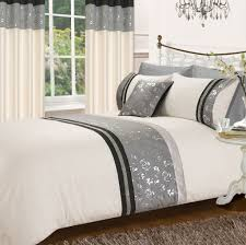 black grey colour stylish matallic fl diamante duvet cover luxury beautiful glamour bedding