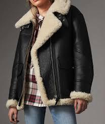 women ivory shearling black leather aviator jacket