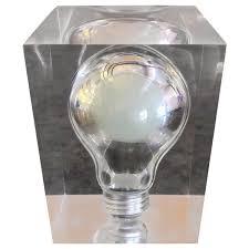 Pop Art Light Bulb Sculpture Paperweight In Lucite By