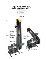 kalamazoo belt grinder. 2fs72m vertical-horizontal specs copy kalamazoo belt grinder