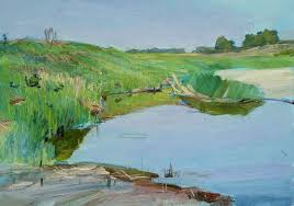 lake oil painting river painting water alexchev