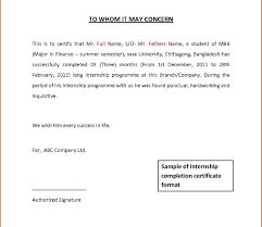 Internship Certificate Letter Format From Perfect Internship