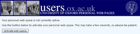 General Guide To Personal And Societies Web Space At Oxford It