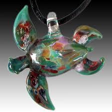 large aqua sea turtle pendant hand blown glass