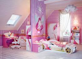 bedroom: Cute Attic Girl Bedroom Design Feat Beautiful Cartoon Themed In  Wall Panels Mixed With
