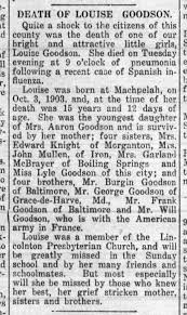 Goodson, Louise (Obituary) - Daughter of Aaron Goodson 17 Oct 1918 -  Newspapers.com