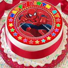 Spiderman Happy Birthday Red Precut 75 Inch Edible Birthday Cake