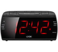 logik lcrb15 fm am clock radio black silver