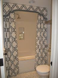 stunning bathroom shower features drop in bathtub dressed in white and gray moroccan tile shower valance paired with white and gray moorish tile shower