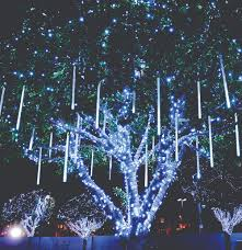 outdoor xmas lighting. Blue Holiday Lights Create A Winter Wonderland In Your On Lawn (Shown Here With Outdoor Xmas Lighting