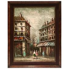 mid century original oil on canvas paris street scene painting by bernard for
