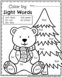 January Kindergarten reading worksheet Polar bear color by sight word. 240x300 january kindergarten worksheets on free worksheets for kindergarten reading