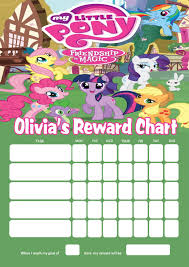 How To Make A Sticker Chart For Good Behavior Personalised My Little Pony Reward Chart Adding Photo Option Available