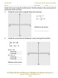 solving systems by substitution worksheet ls 1 solving systems of linear equations by graphing mathops