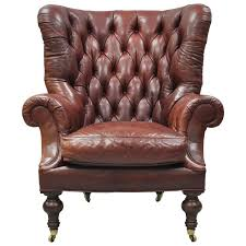 oversized lillian august brown tufted leather english chesterfield wing chair for