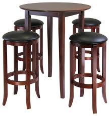 winsome wood fiona 5 piece round high pub table set w pvc stools contemporary
